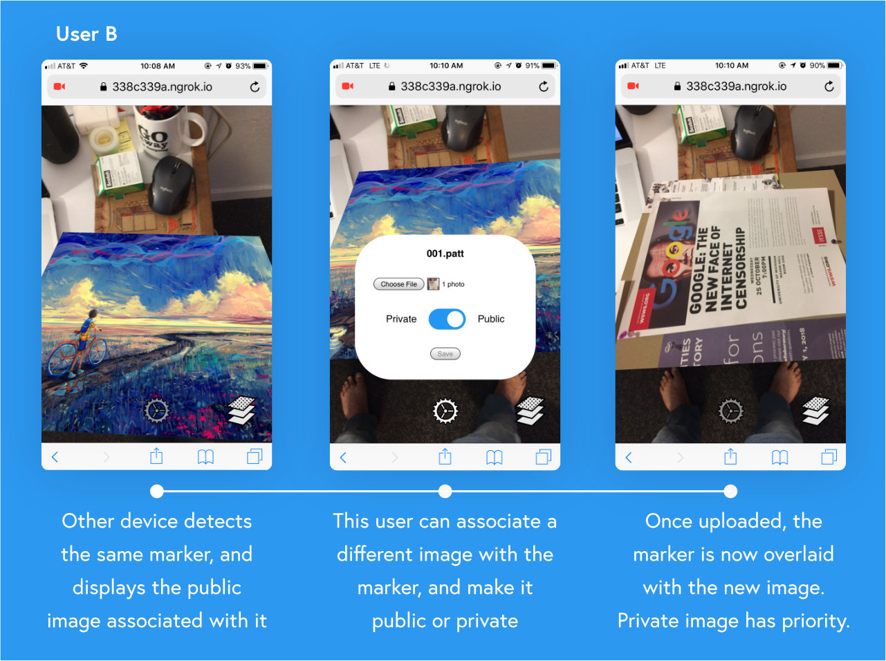 Other device detects the same marker, and displays the public image associated with it. This user can associate a different image with the marker, and make it public or private. Once uploaded, the marker is now overlaid with the new image. Private image has priority.